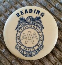 Pinback Reading School Safety Patrol Patrolman Badge