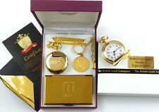 24k Gold Clad James Bond 007 Orologio da taschino Business Card Case & Portachiavi Regalo Set