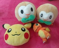 POKEMON -- Small Plush Toy Lot -- ROWLET, CHARMANDER, PIKACHU
