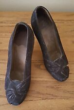 Vintage 1930s Women's Shoes, Brown Suede Heels, Great Condition