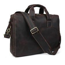 """Wild Style Mens Leather Briefcase Shoulder Tote 15"""" Laptop Bag Business Handbag"""