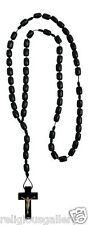 Catholic Black Wood Bead Men Rosary Necklace with Cross Crucifix,Made in Brazil