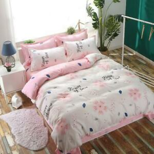 Pink Flower Quilt Cover Cotton Bedding Set + Pillowcase Single Queen King Size