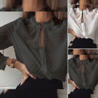 Mode Femme Chemise Pois Manche Longue Col Volants Loisir Ample Haut Shirt Plus