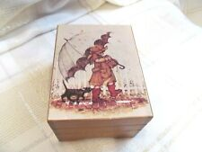 Music Box ( Somewhere my Love) Little girl with umbrella rain cat following wood