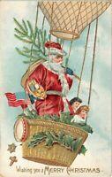 Patriotic ~Santa Claus in Balloon with USA Flag~ Toys~Christmas Postcard--s569