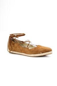 Michael Kors Womens Suede Lace Up Espadrilles Flats Brown Size 37.5 7.5