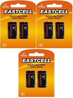 6 x CR123A Lithium Batterie ( 3 Blistercards a 2 Batterien) Markenware EASTCELL