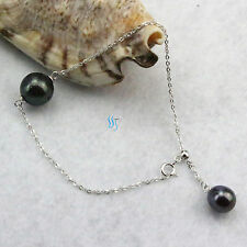 "7-8"" 7-14mm Peacock Freshwater Pearl Sterling Silver Chain Bracelet"