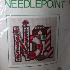 """New listing Sealed Vintage Sunset Noel Christmas Holiday Needlepoint Embroidery 5"""" x 5"""" Kit"""