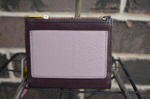 NWT $55 Fossil RFID Mini Leather Bifold Double Zip Wallet Fig purple