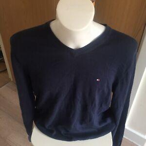 Tommy Hilfiger V Neck Golf Jumper Mens Size Large Blue Cotton Casual Pullover