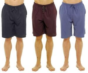 Mens 3 Pack 100% Cotton Lounge Shorts Sleep Pyjama Pj Bottoms With Pockets
