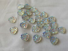 25 Glitzersteine  Herzen Silber Irisierend 10 mm Basteln  NO hot fix
