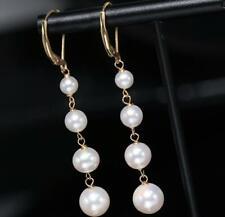 charming 7-10mm real natural white akoya pearl earring 14K Gold long earrings