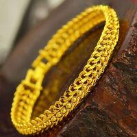 7.4'' Beads Vintage Bracelet 18k Women's Yellow Gold Filled Bangle Jewelry Gift