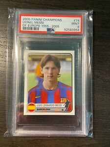 2005 Lionel Messi Panini Champions of Europe Sticker PSA 9 #74 Barcelona PSG