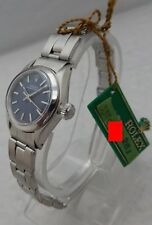 Rolex Oyster Perpetual Ladies 25mm SS Watch Orig Rivet Band Orig Blue Dial 1972
