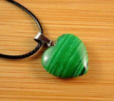 Green Malachite Gemstone Heart Pendant on a Black Cord Necklace #788