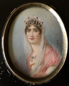 Antique Miniature Portrait Empress Josephine Bonaparte Hand Painted Original