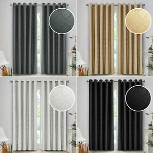 Thick Heavy Blackout Curtains Eyelet Thermal Insulated Ring Top Pair + Tie Backs