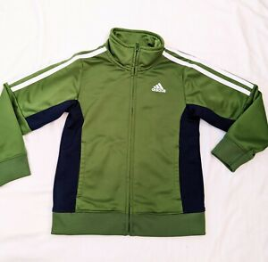 Boys Adidas Track Jacket Size 5 Green/Blue Excellent Condition