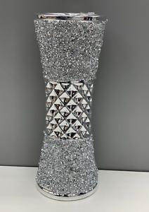 CRUSHED DIAMOND STUNNING SILVER CRYSTAL SILVER CERAMIC VASE, SPARKLY (25CM)✨
