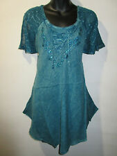 Top Fits XL 1X 2X 3X Plus Tunic Teal Blue V Neck Lace Sleeves A Shaped NWT 783