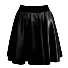 WOMENS LADIES BLACK WET LOOK SKATER SKIRT PVC SHINY PLUS SIZE OFFICE FORMAL 8-26