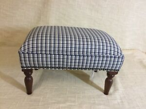 Footstool upholstered in Mobus small check fabric