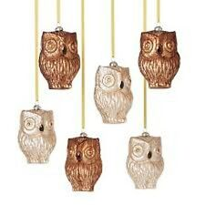 "HALLOWEEN FALL HARVEST CHRISTMAS 6-PC OWL GLASS ORNAMENTS / 5"" TALL"