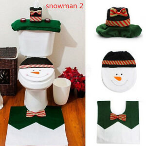 Christmas Toilet Lid Pads Feet Pad Flannel 3pcs Non Slip Red Home Seat Cover FW