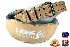"""LIONS FIT 6""""WIDE NATURAL COLOR REAL LEATHER WEIGHT LIFTING BODYBUILDING GYM BELT"""