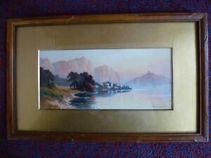 Vintage Art Deco E. Douglas watercolour painting Lake Garda Italy 1920 1930