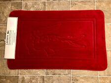 "RARE LACOSTE Croc Logo RED Memory foam bath Math Rug 21""x 24"" New w/ Tag"