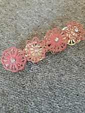 Coral Orange Pink Flower Net Lace Style Gold Metal Jewel Cuff Stretch Bracelet