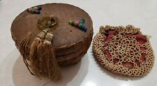 Antique wicker beaded sewing basket and 1800's handmade purse