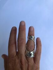 Unode50 Full Finger Hinged Ring Boo Maximus with gray crystals size 5.5