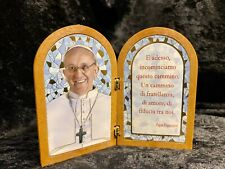 Unique Pope Francis Diptych Prayer Plaque Altar Icon Statue Italy Catholic Saint