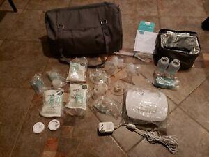 Evenflo Advanced Double Electric Breast Pump Set W/ Shoulder Cooler Bags Bottles