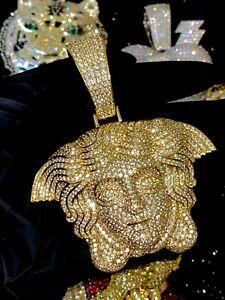 Mens Ice Out Greek God Medusa Head Medallion Big Charm For Upto 20MM Cuban Chain