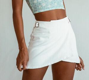 Princess Polly Charlie's Story Denim Skirt. White. Size 4. NWT