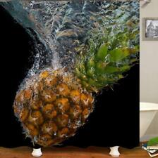 Bath Shower Curtain Bathroom Bathtub Cover Pineapple Painting Art Decor Hooks