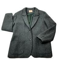 Vintage Pendleton Blazer Jacket 100% Pure Virgin Wool Gray Womens Size M USA