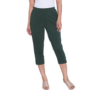 H by Halston Brushed Modal Pull-On Cropped Pants Cypress Color Size Petite 1X