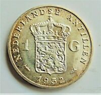 1952 NETHERLANDS ANTILLES, Silver, 1 Gulden grading Choice UNCIRCULATED.