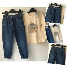 Next Girls Pearl Trim Jeans Exc Used & Prk New Tags Pretty Top 4-5 Years