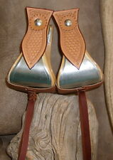 "New Wide 5"" Metal Bound Bell Stirrups, With Saddle Tan Basket Weave Tooling. G&E"