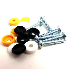 """12 PK NUMBER PLATE FIXING FITTING, 1"""" SELF TAPPING SCREWS & COLOURED CAPS (FWS)"""