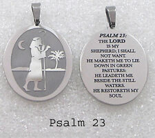 Lord is my Shepherd Pendant Necklace Stainless Steel Psalm 23 Bible Inspiration